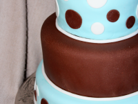 Blue-and-Brown-Polka-Dot-Baby-Shower-Cake
