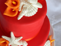Red-and-Orange-Calla-Lillies-and-Shells-Cake